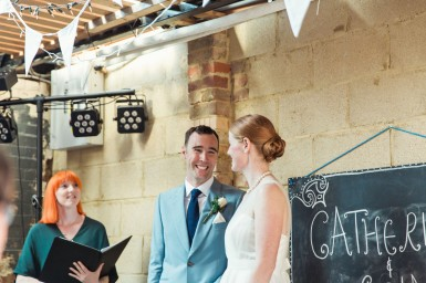 Saturday, August 15, 2015 Catherine and Eoin's wedding at The Brew-Shed at Crate Brewery in Queen's Yard, London, United Kingdom.